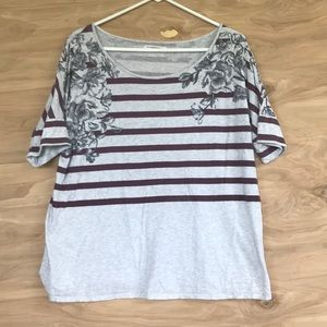 Anthropologie t-shirt with stripes and florals